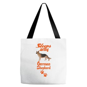 Sleeps With German Shepherd Tote Bags