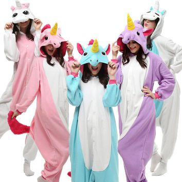 Plus Size Brand Adult Halloween Cosplay Costume For Women Men Pijama De Unicornio Polar Fleece One Piece Party Pajamas Onesuit