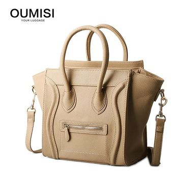 Oumisi Hot! 2017 Luxury Brand Designer Classic Nano Solid Color Smiley Cross Body Tote Women Bag, Smile Face Purse lady bag CS