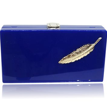 Winter Fall Loyal Blue Leaves Clutch