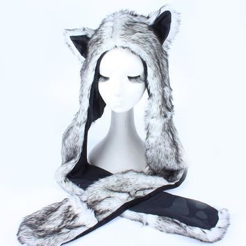 Faux Fur Hood Animal Hat Ear Flaps Hand Pockets 3 in1 Animal Hood Hat Wolf Plush Warm Animal Cap with Scarf Gloves Free Shipping