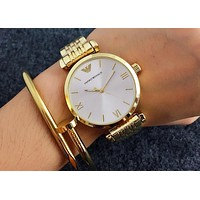 ARMANI Tide Brand Fashion Simplicity Men And Women Watches Gold I-Fushida-8899