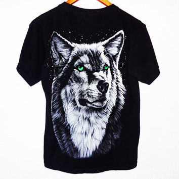 Vintage 90s Grunge Wolf Wildlife Tee - medium -