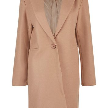 Longline Tailored Wool Look Coat | Boohoo
