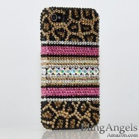 Swarovski Luxury Leopard Crystal Bling Case Cover for iphone 4 / 4s 100% Handcrafted by BlingAngels
