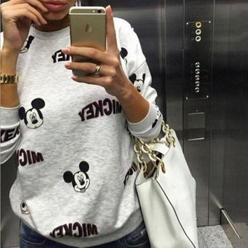 DCCKI2G Cartoon Mickey Mouse Long Sleeve Sweatshirts Tops