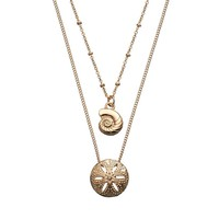 LC Lauren Conrad Shell & Sand Dollar Multistrand Necklace (Yellow)