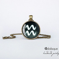Aquarius sign pendant European Zodiac necklace air sign gift jewelry bronze for him for her jewellery key ring