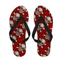 Skull and Bones (Red Art pattern) Sandals