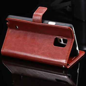 KISSCASE For Samsung Galaxy Note 4 N9100 IV Case Luxury Flip Leather Phone Case Full Protective Business Style For Men Women