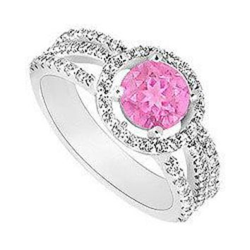 Pink Sapphire and Diamond Halo Engagement Ring : 14K White Gold - 1.75 CT TGW