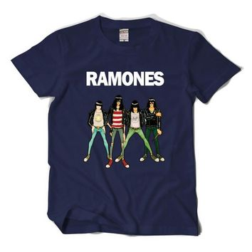 RAMONES Men's Shirt Retro Logo American Punk Rock Band tee shirts