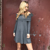 Heavenly Bliss Grey Off Shoulder Dress