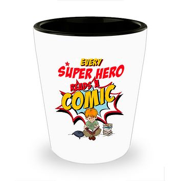 Every Super Hero Reads A Comic Drinking Shot Glass
