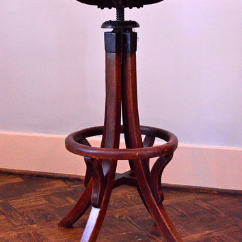 Exceptional Early 1900s Antique Drafting Stool, Adjustable Wood Drafting Stool