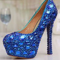 Specific Shinning Blue Rhinestone Bridal Shoes