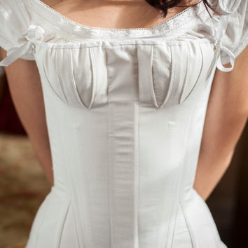 Regency Stays Regency Corset White Cotton Ready to Ship Historical Undergarment Underpinning Jane Austen Empire Napoleonic Style Corset