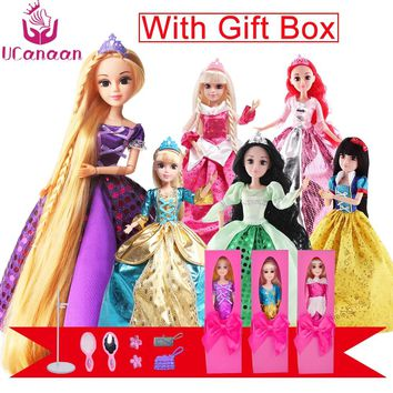UCanaan Fashion Princess Dolls +1 Gift Box Cinderella/Snow Whit/Mermaid/Rapunzel/Sleeping Long Hair Doll Toys New Year Gift
