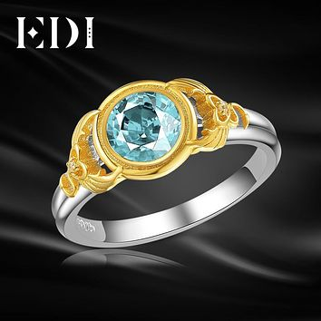 EDI 6.5mm Natural Blue Topaz Engagement Ring For Women 925 Sterling Silver Angels And Demons Wing Party Fine Jewelry