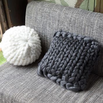 Handmade Square Chunky Wool Pillow Chair Cushion Knit Throw Knitting Home Pillow Cushion Birthday Christmas Gift