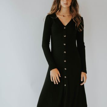 Get Obsessed Button Down Dress (Black)