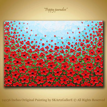 Poppy Painting, Original artwork of red poppies textured art on 24x36 large canvas
