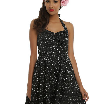 Black & White Falling Stars Halter Dress