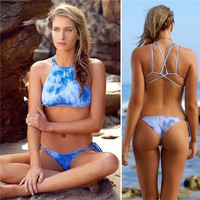 New Arrival Sexy Swimwear Womens Shoulder Strappy Bikini Set Push-Up Padded Beachwear High Neck Bikini = 1956443716