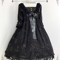 [$99.00]Empire Waist Half Sleeves Chiffon Lolita Dress Lolita OP by SHIMOTSUKI SAKUYA