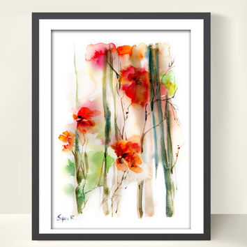 Art Print from Original Watercolor Painting, Abstract Flowers, Red Green, Abstract Wall Art