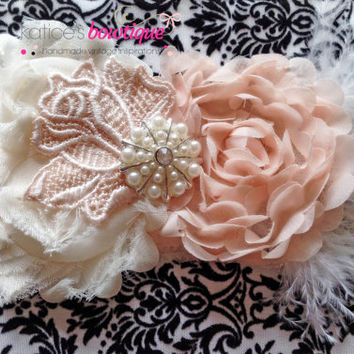 Peaches and Cream Vintage Style Chiffon and Lace Ostrich Feather Newborn Headband, Photography Prop, Infant Headband