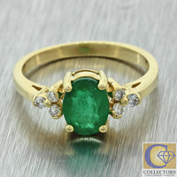 Vintage Estate 14k Solid Yellow Gold 1ct Oval Emerald .12ctw Diamond Ring