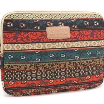 Kinmac New Bohemian Canvas Fabric Laptop Sleeve 15.6 Inch for Macbook Pro 15 Retina Case Macbook Pro 15 Sleeve Macbook 15 Bag and 15 Inch Dell Hp Lenovo Sony Toshiba Ausa Acer Samsun Laptop Bag 15 Inch