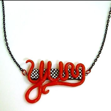 "Yum 50s Diner Style Necklace - Polymer Clay Pendant - Rockabilly  - Retro Style - 18"" Chain Necklace"