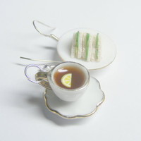 Lemon Tea and Cucumber Sandwiches Miniature Food Earrings - Miniature Food Jewelry