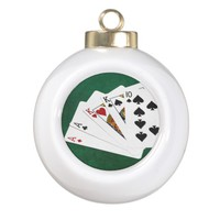 Poker Hands - Two Pair - Ace, King Ceramic Ball Christmas Ornament