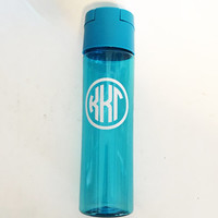 Water Bottle - Sorority Monogram Style Custom Water Bottle With Pop Open Lid - Bright Bright Blue - Kappa Kappa Gamma