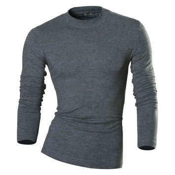 New Arrival Autumn and Winter Men Designer Turtleneck T Shirt Casual Slim Fit Thermal Shirts Tops