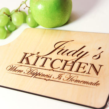 "Personalized Wood Cheese Cutting Board Engraved ""Where Happiness is Homemade"" ~ Wedding, Anniversary, Mothers Day, Birthday Gift, Cheese"