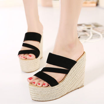 Thick Crust Wedge Summer Strong Character Leather High Heel Shoes Slippers [6047408961]