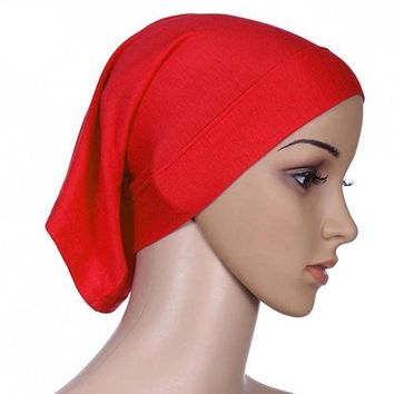 Muslim Headscarf 2017 Women Hijab Cap Hat Cap Cotton Under Scarf Bone Bonnet Neck Cover Muslim