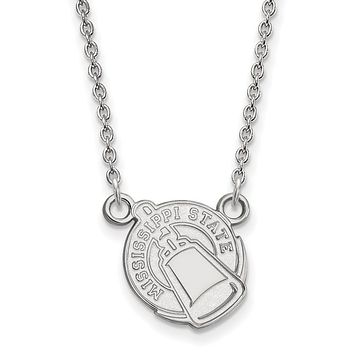 NCAA 10k White Gold Mississippi State Small Pendant Necklace