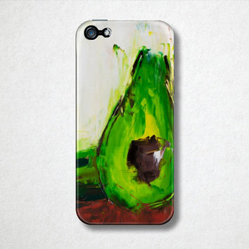 Avocado Phone Case - iPhone Case - 4S - 5S - Samsung Galaxy - Plastic Hard Cell Phone Case - Oil Painting - Abstract Art - Back to School