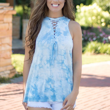 Clear Water Lace-Up Top