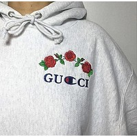 Gucci X Champion Classic Fashion Women Men Hooded Sweater Top Sweatshirt