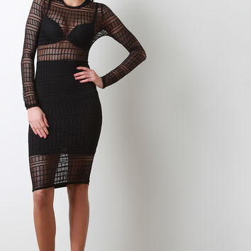 Semi-Sheer Cage Long Sleeve Bodycon Dress