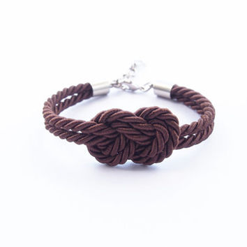Nautical rope bracelet , nautical jewelry , bridesmaid gift , nautical bracelet , infinity knot bracelet , rope bracelet , tie it knot,brown