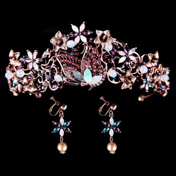 Opal Crystal Butterfly Pin Tiara Crown with Earrings Cosplay