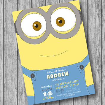 photograph about Minions Eyes Printable identified as Simplest Minion Birthday Invites Products and solutions upon Wanelo