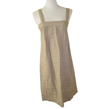 NWT BENETTON KHAKI LINEN PIN TUCK DRESS, SIZE XS